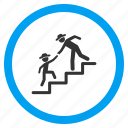 business training, education, gentleman, help, learning, stair steps, study icon