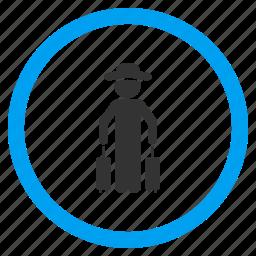 client, gentleman, luggage, passenger, person, trip, voyage icon