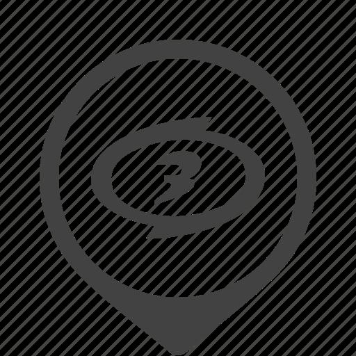 emblem, number, round, third, three icon