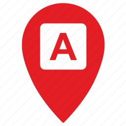 a, gps, location, point, pointer, side, way icon
