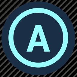 active, alphabet, geo, letter, place, point, position icon