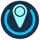 active, blue, cursor, geo, point, pointer, position icon
