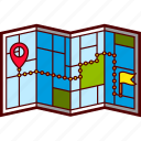 address, city, destination, flag, map, route, streets icon