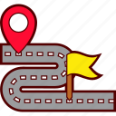 address, destination, flag, location, pin, road, route icon