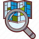 address, find, magnifier, map, pin, search, searching icon