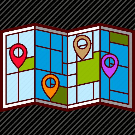 addresses pins tourist map folded city streets icon download addresses pins tourist map folded city streets icon download