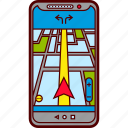 car, destination, driving, gps, map, route, smartphone icon
