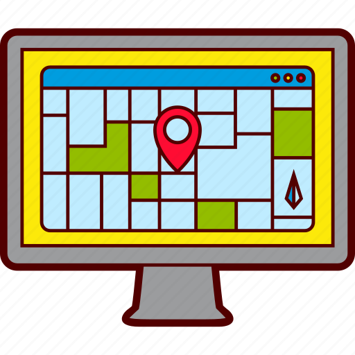 browser, computer, map, pc, screen, window icon