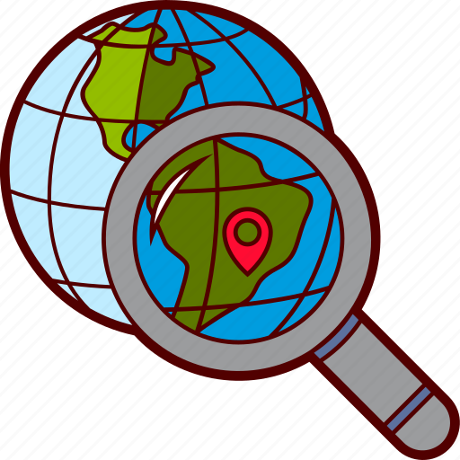 destination, find, magnifier, map pin, search, travel, world icon
