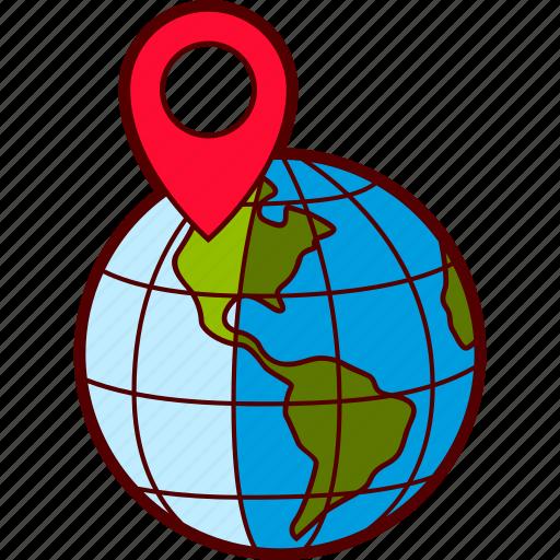 destination, global, map, pin, travel, world icon