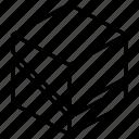 diagonal, slice, geometric, cube, shape, box