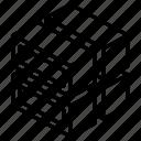 hollow, stack, geometric, cube, shape, box, slice