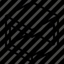 horizontal, subtract, geometric, cube, shape, box