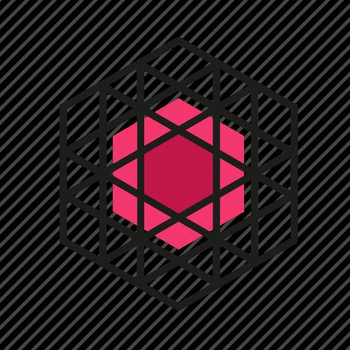 engineering, geometric, hex, illustration, line icon
