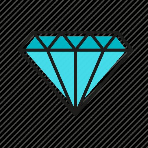 diamond, engineering, geometric, illustration, line icon