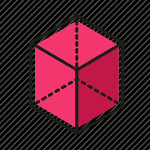 cube, engineering, geometric, illustration, line icon