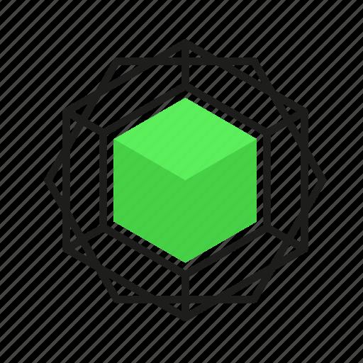 engineering, gem, geometric, illustration, line icon