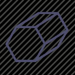 figure, geometry, hexagon, polygon, prism icon