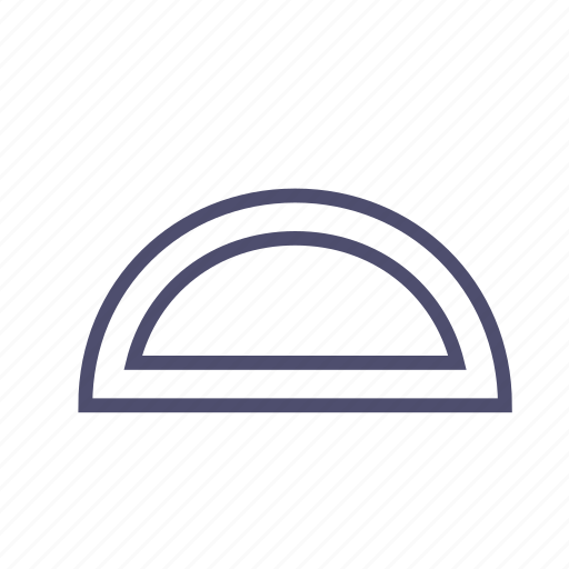 figure, geometry, protractor, ruler, semicircle icon