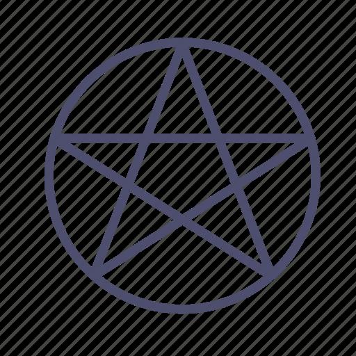 circle, figure, geometry, pentacle, star icon