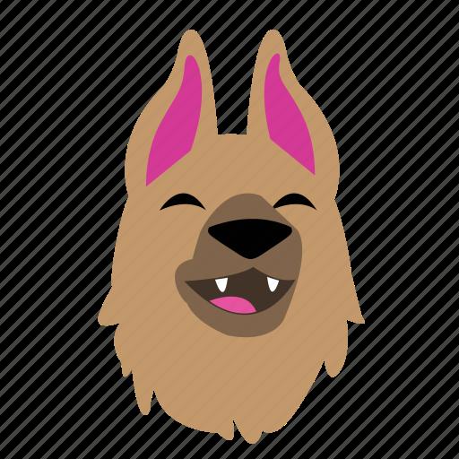 animal, cute, dog, emoji, graphic, laugh, sticker icon