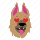 dog, emoji, graphic, love, sticker icon