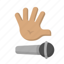 complete, drop, emoji, freestyle, gesture, hand, mic icon