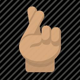 crossed, emoji, fingers, hand, hope icon