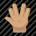 geek, hand, nerd, salute, star wars, startrek, vulcan icon