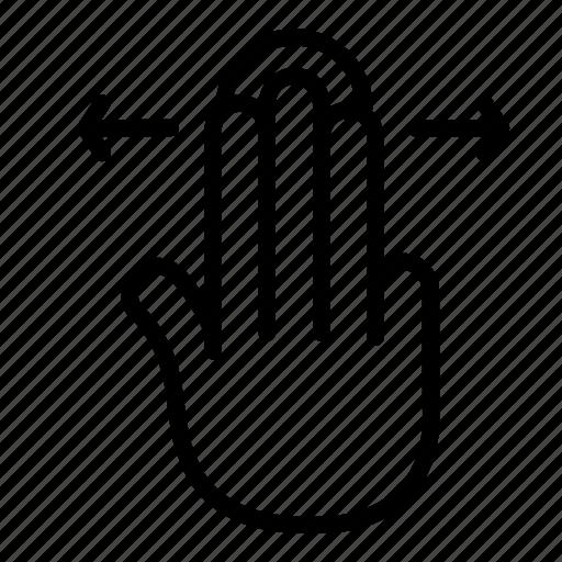 finger, gesture, horizontal, slide, swipe, three icon
