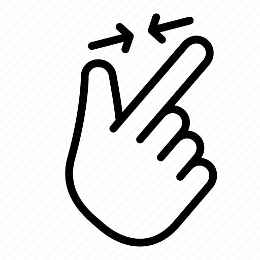 fingers, gesture, hand, out, pinch out, point, zoom icon