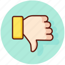 disapprove, dislike, down, finger, gesture, thumb, unlike icon