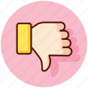 disapprove, dislike, down, gesture, thumb, unlike icon
