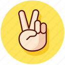 fingers, gesture, gestures, hand, peace, sign icon