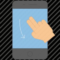 control, device, down, gadget, gesture, press, swipe icon