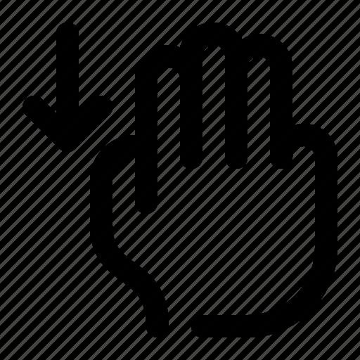 arrow, down, gesture, hand, scroll, swipe, three fingers icon