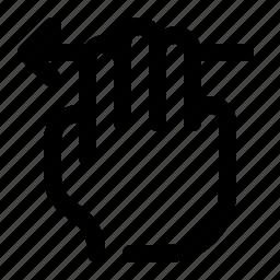 arrow, hand, left, next, swipe, three fingers, touch icon