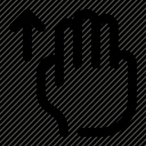 arrow, hand, scroll, swipe, three fingers, top, up icon