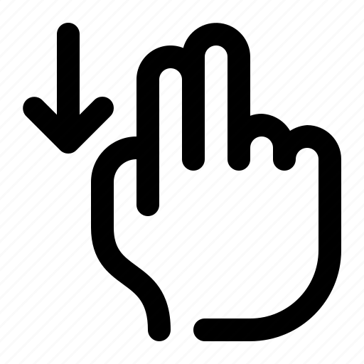 arrow, down, hand, scroll, swipe, touch, two fingers icon