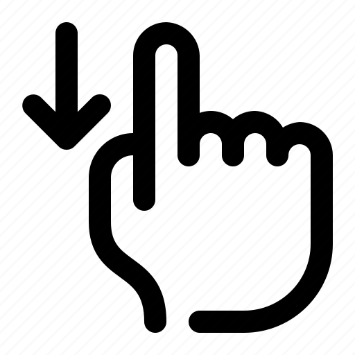 arrow, down, hand, mobile, one finger, scroll, swipe icon