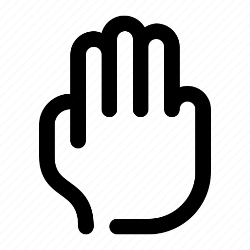 fingers, gesture, hand, three, three fingers, touch icon