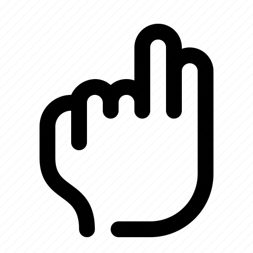 fingers, gesture, hand, touch, two, two fingers icon