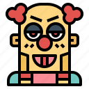 character, clown, face, halloween icon