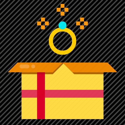 box, celebration, diamond, gift, ring, surprise icon