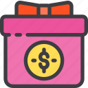 birthday, box, gift, money, order, present icon