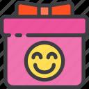 birthday, box, gift, order, present, smile icon