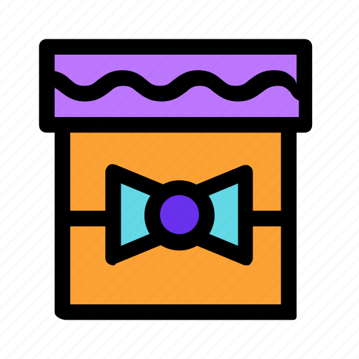 bow, box, gift, holiday, orange, present icon