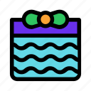 birthday, bow, christmas, package, present, waves icon