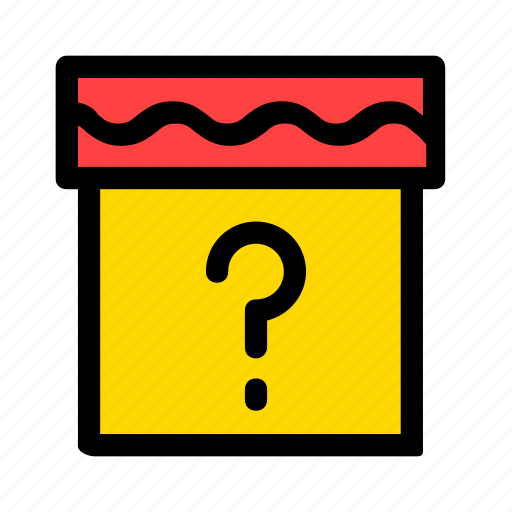 box, gift, present, question, surprise, yellow icon
