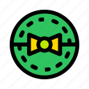 bow, christmas, circle, gift, new year icon
